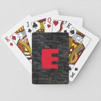 Baralho criar cartões de jogo pretos com nome/inicial