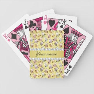Baralho De Poker Diamantes chiques de Bling da folha de ouro do