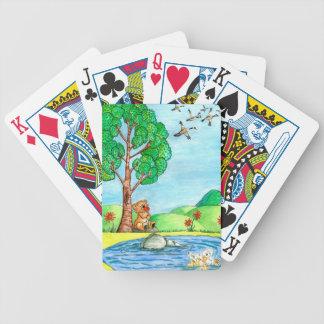"""Baralho De Truco """"Urso com cartões de jogo das flores"""""""