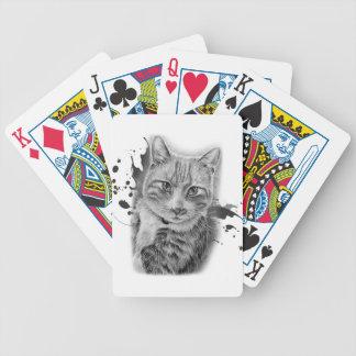 Baralho Desenho da arte do gato com pintura preta e