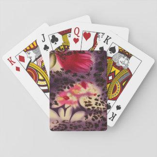 Baralho Design roxo do impressão do leopardo das flores do