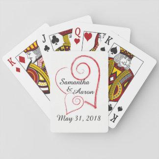 Baralho Dois cartões de jogo dos corações