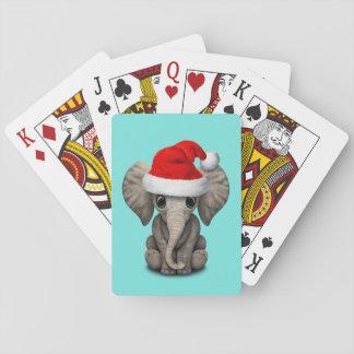 Baralho Elefante do bebê que veste um chapéu do papai noel