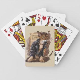 Baralho gatinho mau que joga a plataforma de cartões