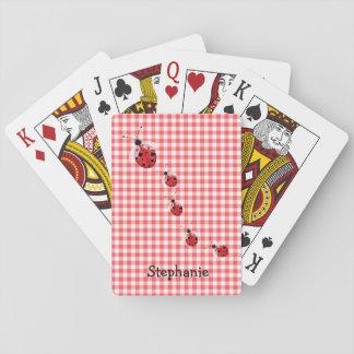 Baralho Guingão vermelho e cartões de jogo feitos sob
