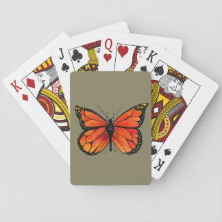 Baralho Ilustração da borboleta de monarca em cartões de