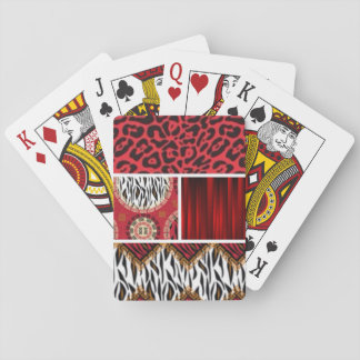 Baralho Impressão e colagem animais vermelhos dos padrões