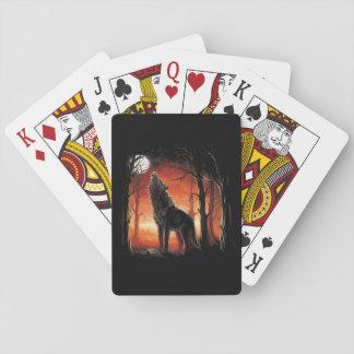 Baralho Lobo do urro em cartões de jogo do por do sol