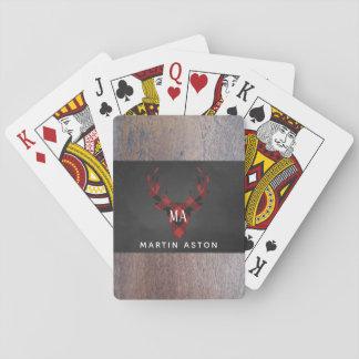 Baralho Monograma vermelho da cabeça dos cervos da xadrez