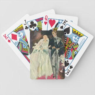 Baralho Newlyweds do casamento vintage, noiva feliz e Goom