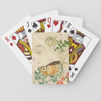 Baralho Os cartões de jogo florais da coruja do vintage