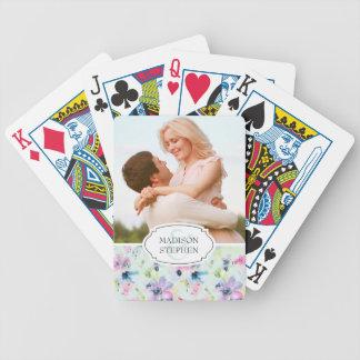 Baralho Para Poker Aguarela floral Pastel bonita - foto do casamento