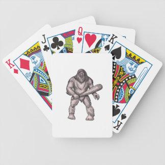 Baralho Para Poker Bigfoot que guardara o tatuagem ereto do clube