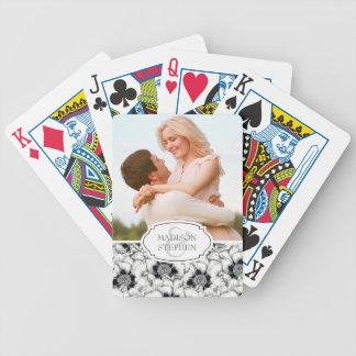 Baralho Para Poker Mão preta & branca floral tirado - foto do