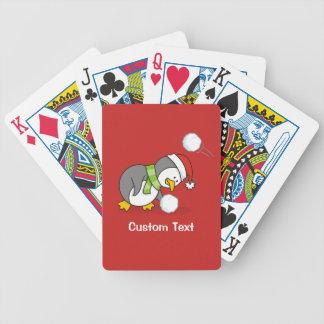 Baralho Para Poker Pinguim do Natal que obtem uma bola da neve