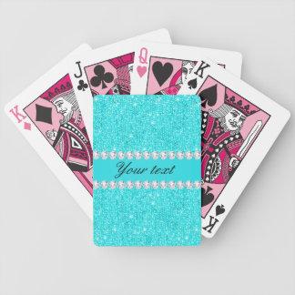 Baralho Para Poker Sequins e diamantes personalizados de turquesa