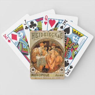 Baralho Para Poker Vintage Heidsieck & etiqueta Monopole do vinho do