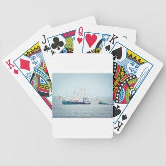 Baralho Para Pôquer Barco azul do camarão no oceano