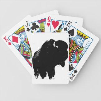 Baralho Para Pôquer Búfalo preto & branco do bisonte do pop art