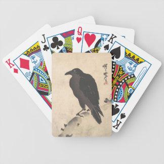 Baralho Para Pôquer Corvo de Kawanabe Kyosai que descansa na arte de