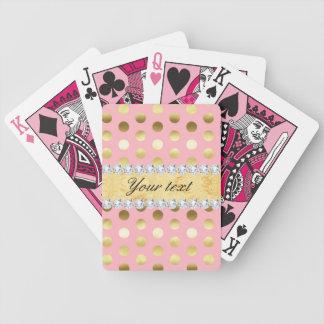 Baralho Para Pôquer Diamantes cor-de-rosa das bolinhas da folha de