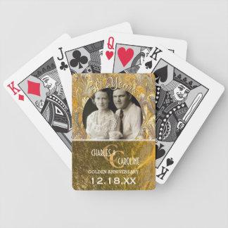 Baralho Para Pôquer Foto feita sob encomenda dourada do monograma | do