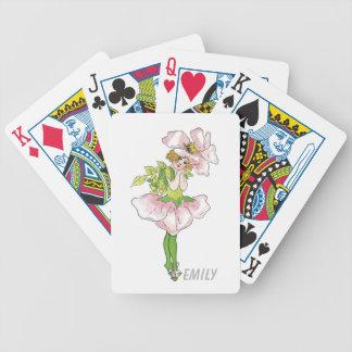 Baralho Para Pôquer Menina bonito engraçada floral da flor cor-de-rosa