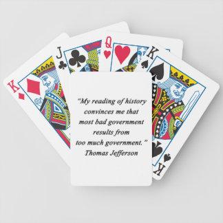 Baralho Para Pôquer O governo mau - Thomas Jefferson