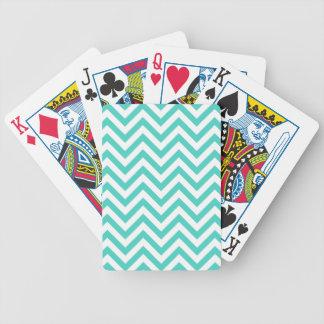Baralho Para Pôquer O ziguezague azul e branco da cerceta listra o