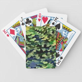 Baralho Para Pôquer Pop art abstrato da folha em verde e no azul