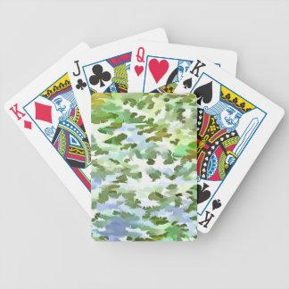 Baralho Para Pôquer Pop art abstrato da folha no verde branco e no pó