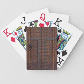 Baralho Para Pôquer Porta de madeira velha com reforços pretos do