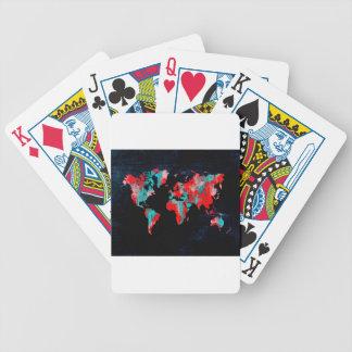 Baralho Para Pôquer preto vermelho do mapa do mundo