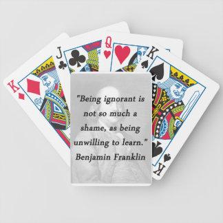 Baralho Para Pôquer Sendo ignorante - Benjamin Franklin