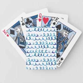 Baralho Para Pôquer Teste padrão ondulado da aguarela azul pintado mão