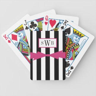 BARALHO PARA TRUCO CHIQUE QUE JOGA CARDS_BLACK/WHITE STRIPES/PINK
