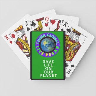 Baralho Pense cartões de jogo globais/vivos do vegan