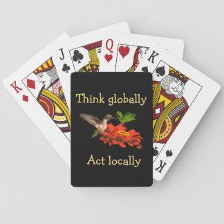 Baralho Pense global cartões de jogo vermelhos do ato