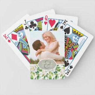 Baralho Peônias & aguarela brancas da folha - casamento