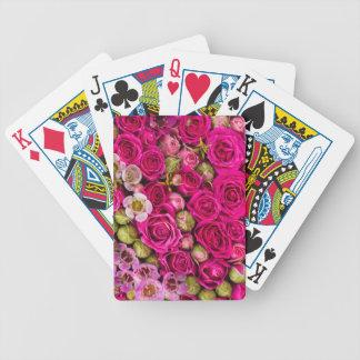 Baralho Plataforma da flor de cartões cor-de-rosa bonito