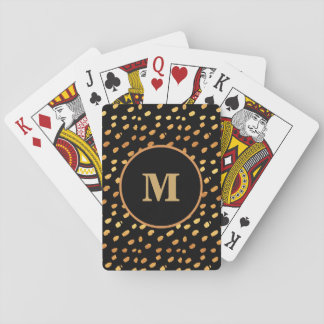 Baralho Preto do monograma e cartão de jogo dos confetes