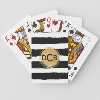 Baralho Preto e cartões de jogo do monograma do ouro