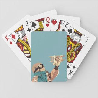 Baralho Rapariga com os cartões de jogo planos de madeira