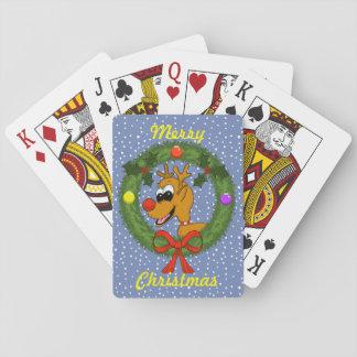 Baralho Rena em cartões de jogo do Natal da grinalda