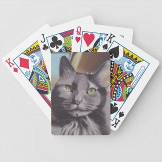 Baralho Retrato cinzento do animal de estimação do gato