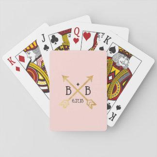 Baralho Rosa e cartões de jogo do monograma do casamento