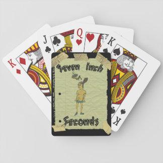 Baralho Sete cartões de jogo dos segundos da polegada