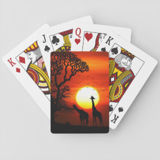 Baralho Silhuetas africanas do girafa do por do sol do