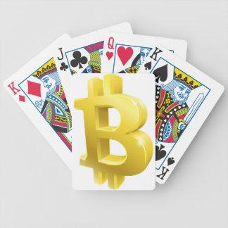 Baralho Símbolo do sinal do ouro de Bitcoin 3d