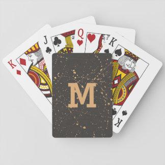 Baralho Splatter Monogrammed do ouro em masculino preto